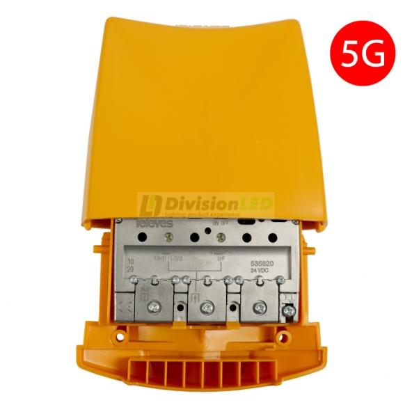 Televes 535620 Amplificador de mástil 5G alta ganancia 1 entrada FM/BIII/DAB/UHF