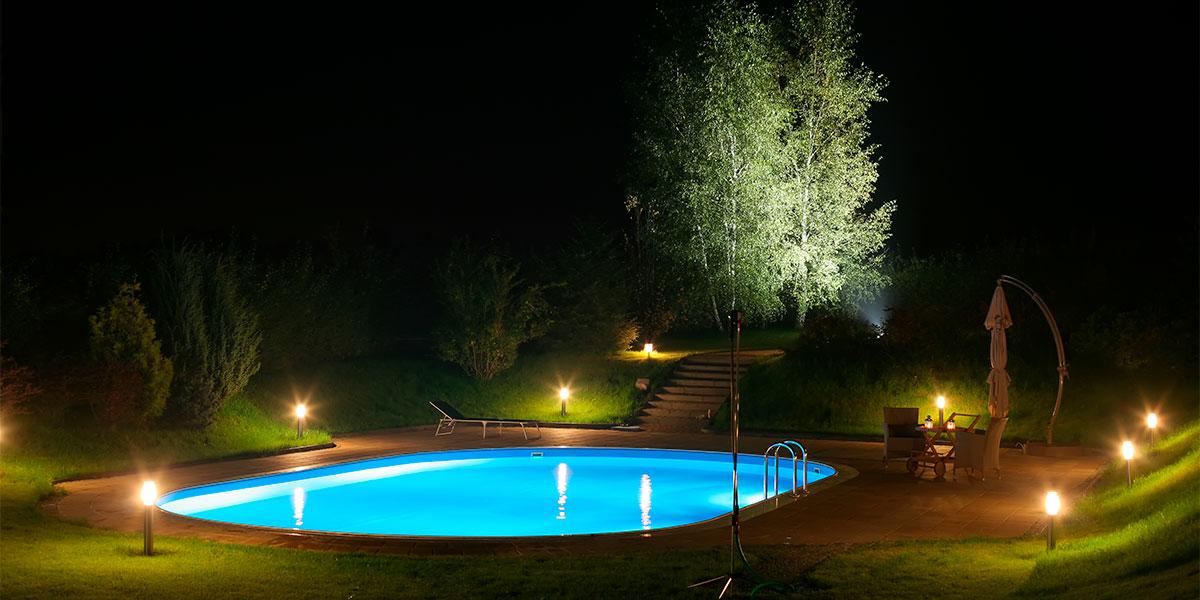 iluminación exterior jardín led piscinas